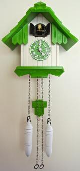 Quarz-Kuckucksuhr 20 cm grün/weiß