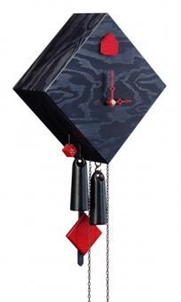 1-Tag Kuckucksuhr Design Collection Raute schwarz, 24cm