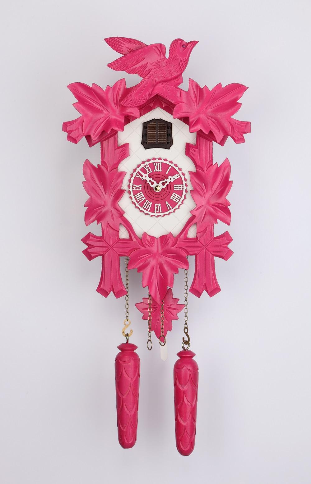 schwarzwald kuckucksuhren online shop quarz kuckucksuhr 32cm f nflaub pink wei online kaufen. Black Bedroom Furniture Sets. Home Design Ideas
